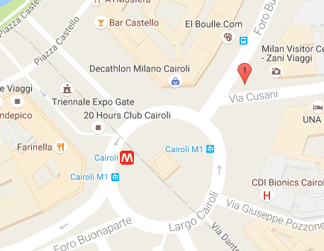 ミラノのアウトレット「セッラヴァッレ」ツアーの集合場所1