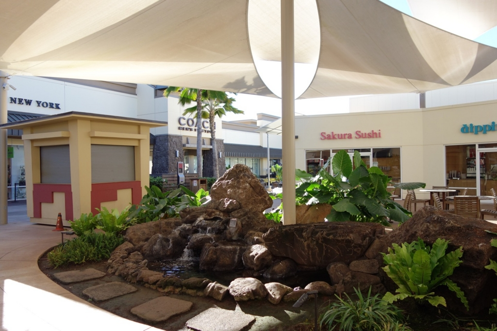 ワイケレアウトレットの中庭