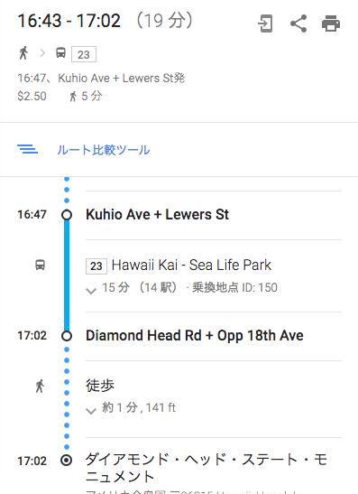 ダイヤモンドヘッドへのバスでのルート(23番バス)