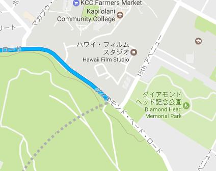 バス停からダイヤモンドヘッドまでのルート(23番バス)