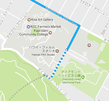 バス停からダイヤモンドヘッドへのルート(3番バス)