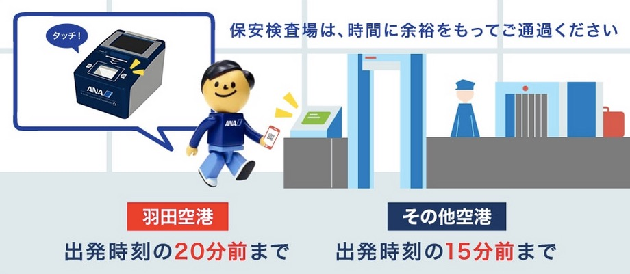 羽田空港の保安検査場の締切時間(ANA)