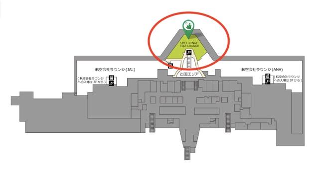 中央エリアのカードラウンジの場所(マップ)