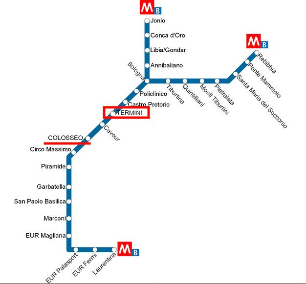 ローマの地下鉄「B線」の路線図