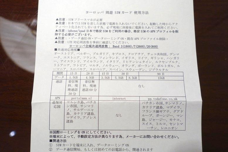 ヨーロッパ周遊 SIMカード:使用方法(日本語)