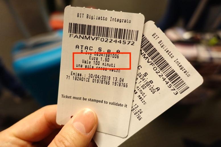 ローマの地下鉄:切符(1回券)