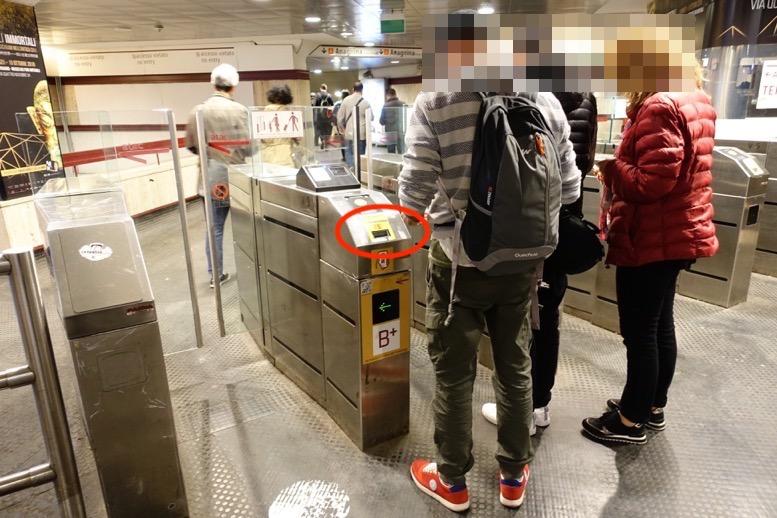 ローマの地下鉄:自動改札機