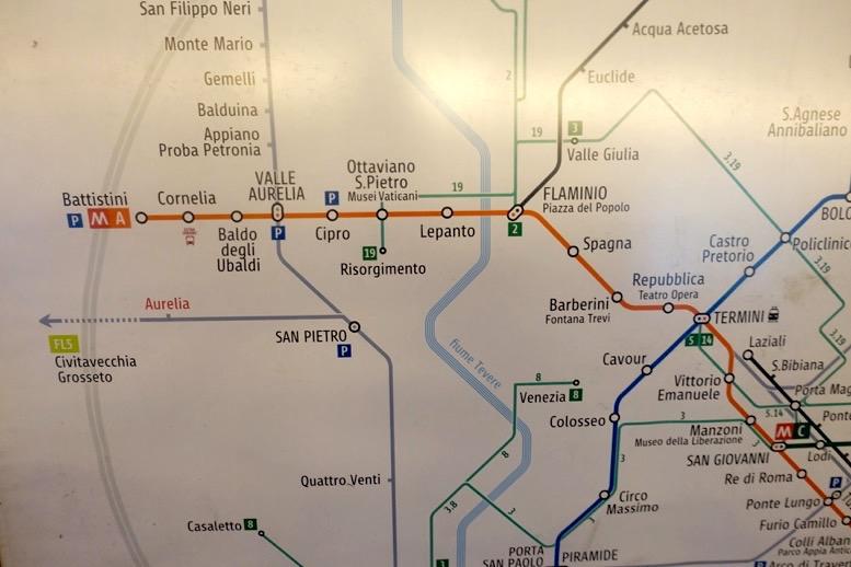 ローマの地下鉄:路線図