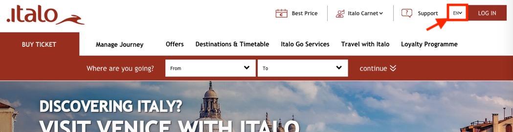 イタロ(Italo)のチケット予約方法:言語を選択