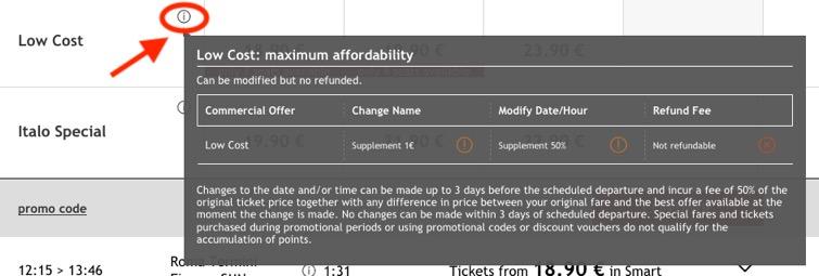 イタロ(Italo)のチケット予約方法:購入条件を確認
