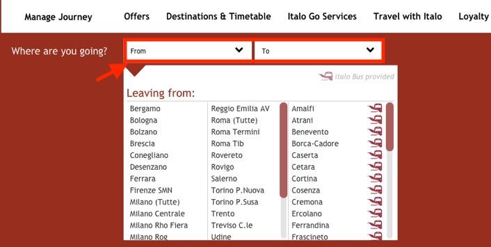 イタロ(Italo)のチケット予約方法:出発地と目的地を入力