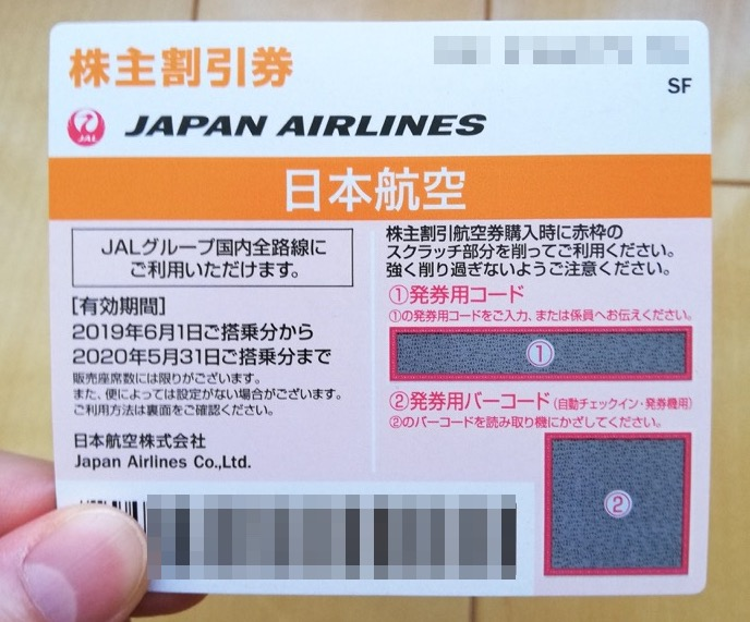 JAL株主優待券のイメージ