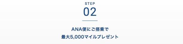 ANAカードの入会キャンペーン:ステップ2「ANA便ご搭乗で最大1,000マイルプレゼント」1
