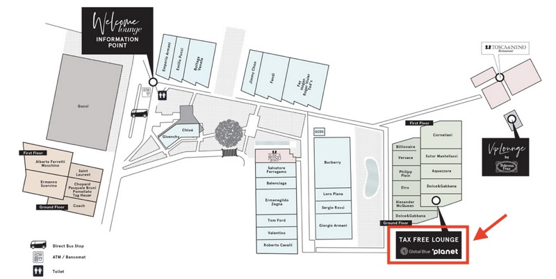 「The Mall(ザ・モール)」内のマップ(免税ラウンジ)