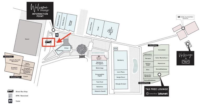 「The Mall(ザ・モール)」内のマップ(バス停)