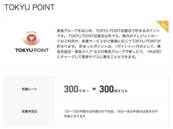 ドットマネーの「TOKYUポイント」へのポイント交換画面