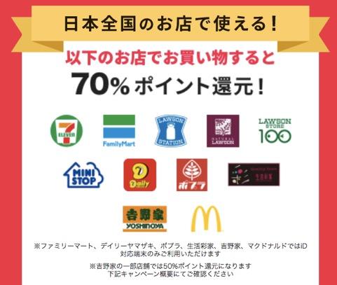 70%ポイント還元の対象店舗