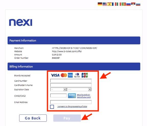 チケット予約手順「クレジットカード決済の実行」2