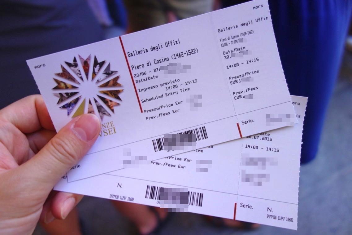 ウフィツィ美術館のチケット1