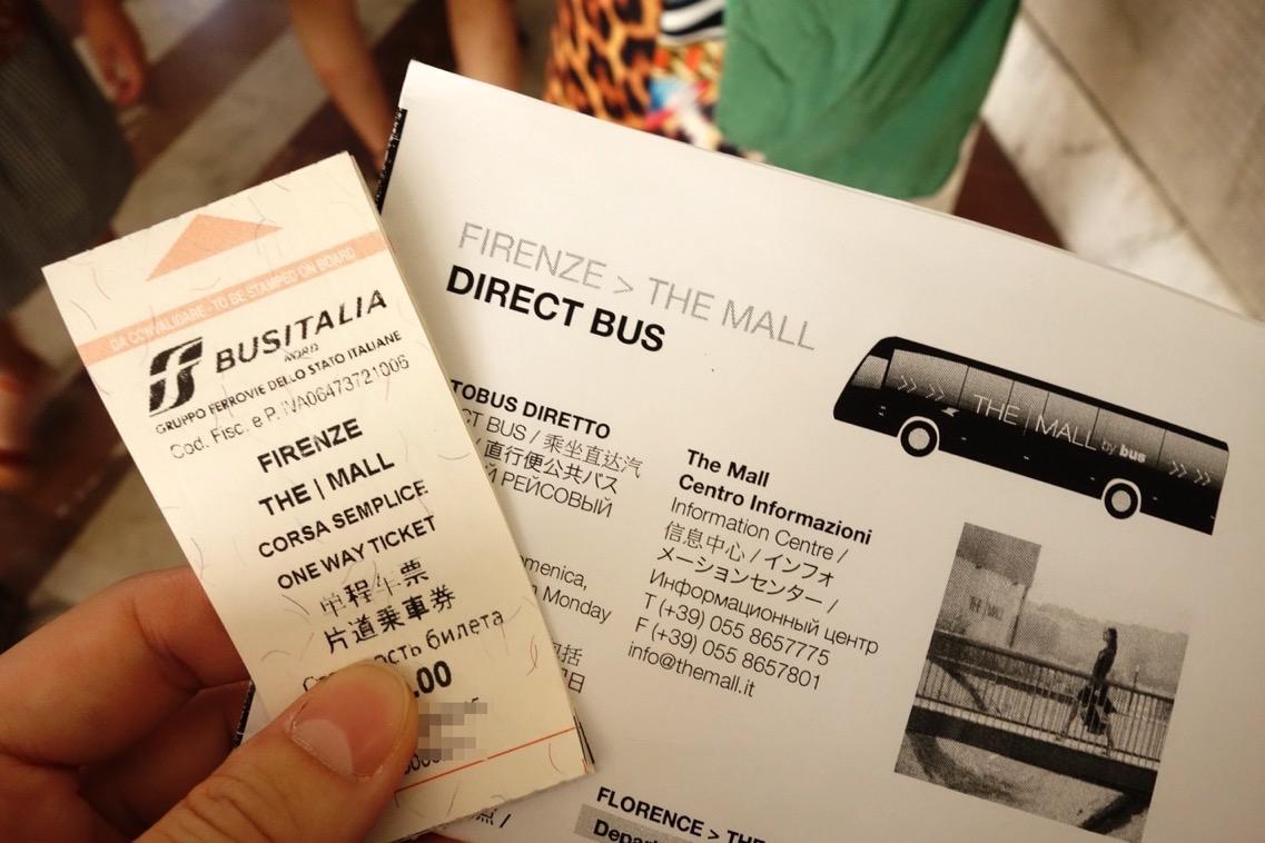 「The Mall(ザ・モール)」へのバスチケット