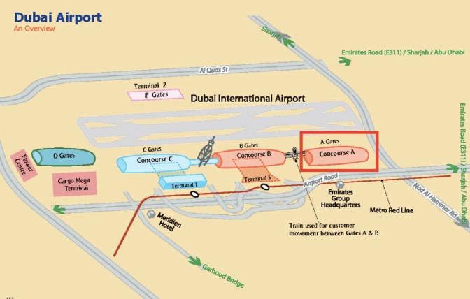 ドバイ空港のマップ