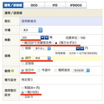 ANAホールディングス:注文入力(信用新規売)2