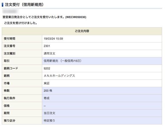 ANAホールディングス:注文入力(信用新規売)6