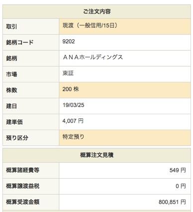 ANAホールディングス:注文入力(現渡)4