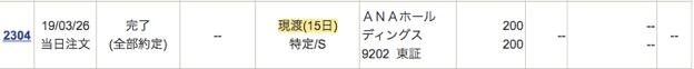 ANAホールディングス:注文入力(現渡)6