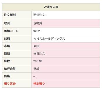 ANAホールディングス:注文入力(現物買)3