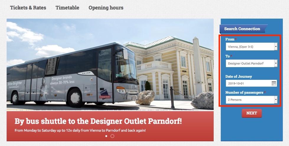 ウィーンのアウトレット:シャトルバスの予約手順1