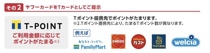 Yahoo!JAPANカードの特徴2:提携先でTポイントが貯まる