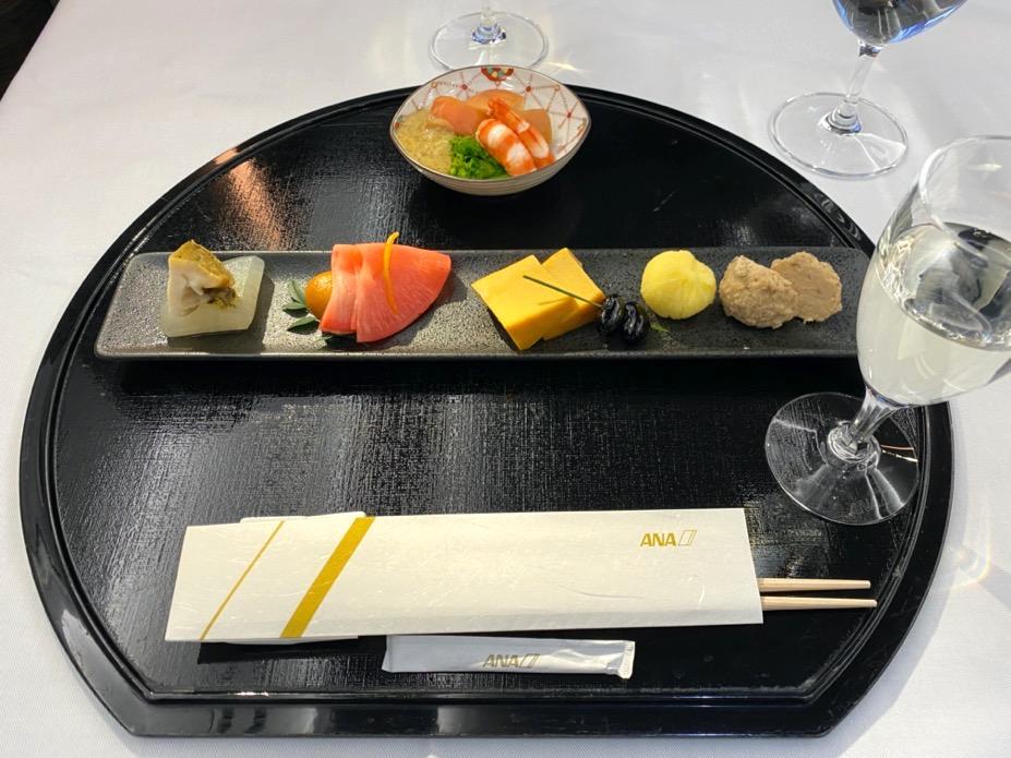 ANA A380「ファーストクラス」の機内食(和食)