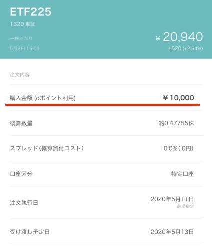 購入確認画面(ETF225)