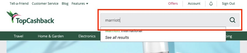 TopCashback「Marriott」の検索