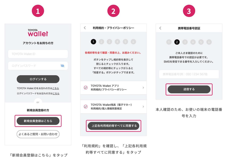 TOYOTA Wallet(トヨタウォレット)のアカウント新規登録手順(1)