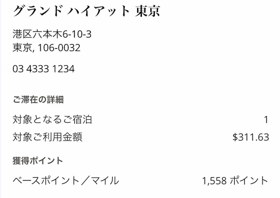 グランドハイアット東京:宿泊実績1