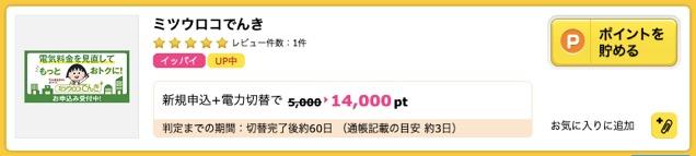 ハピタス:NTTドコモ「ミツウロコでんき」