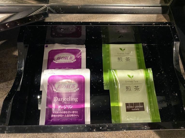 三井ガーデンホテル日本橋プレミア「モデレートダブル」:紅茶、日本茶