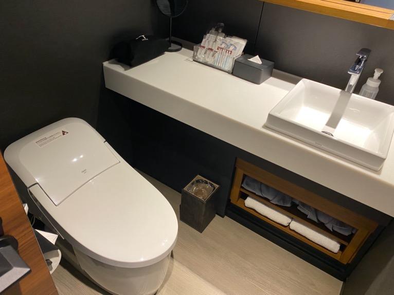 「モデレート」の客室:洗面台&トイレ