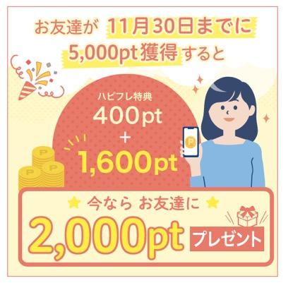 11月30日までに5,000ポイント以上を獲得で2,000ポイントプレゼント