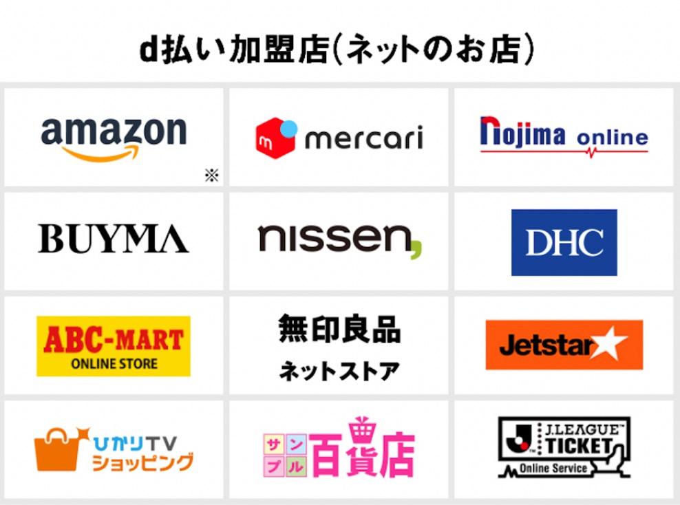 d払いは全国のお店で利用可能(ネットのお店)