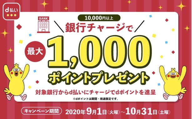 銀行チャージで1,000ポイントプレゼントキャンペーン:概要