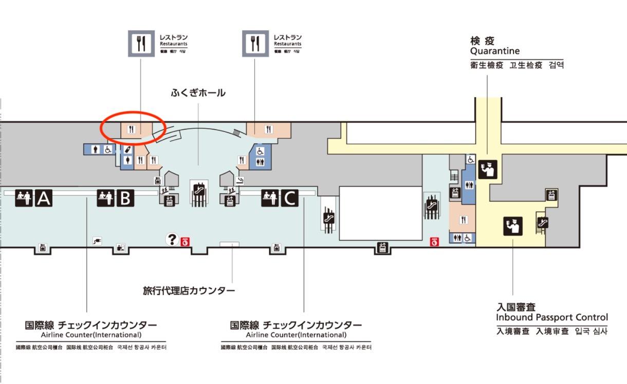 那覇空港3階のフロアマップ(拡大)