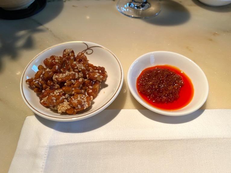 ザ・ペニンシュラ東京「ヘイフンテラス」:胡桃の飴たき&XO醬入りチリソース