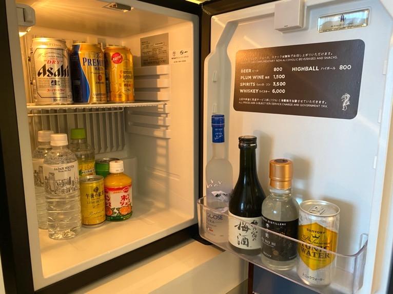 アンダーズ東京「客室」:冷蔵庫(内部)