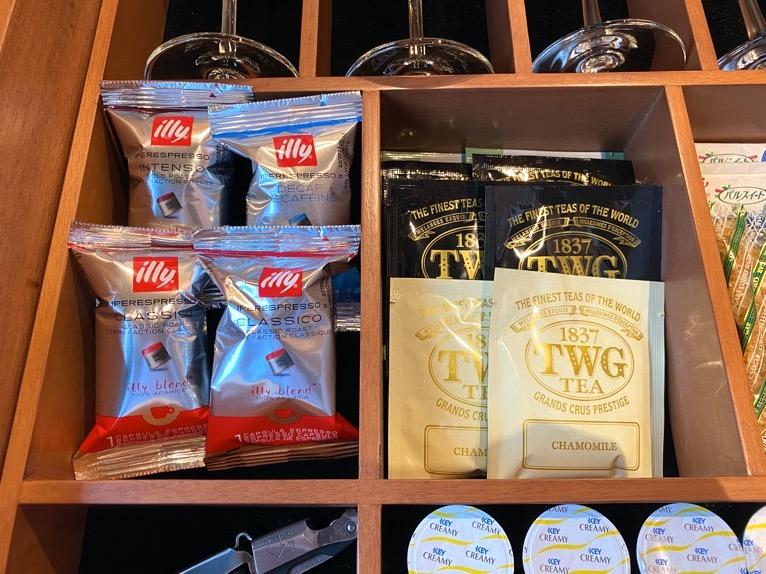 インターコンチネンタル横浜Pier8「客室」:コーヒー豆(ILLY)&ティーバッグ(TWG)