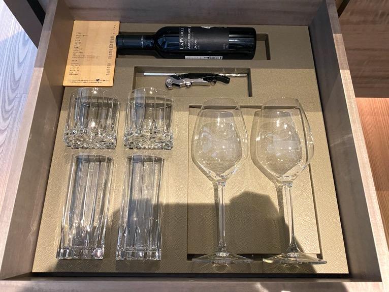 フォーシーズンズ東京大手町「客室」:グラス類