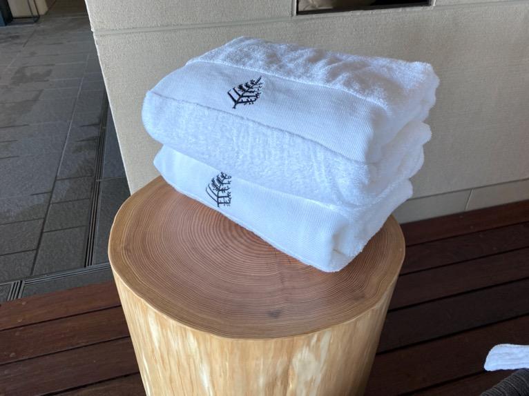 フォーシーズンズホテル東京大手町「屋内プール」:タオル&水