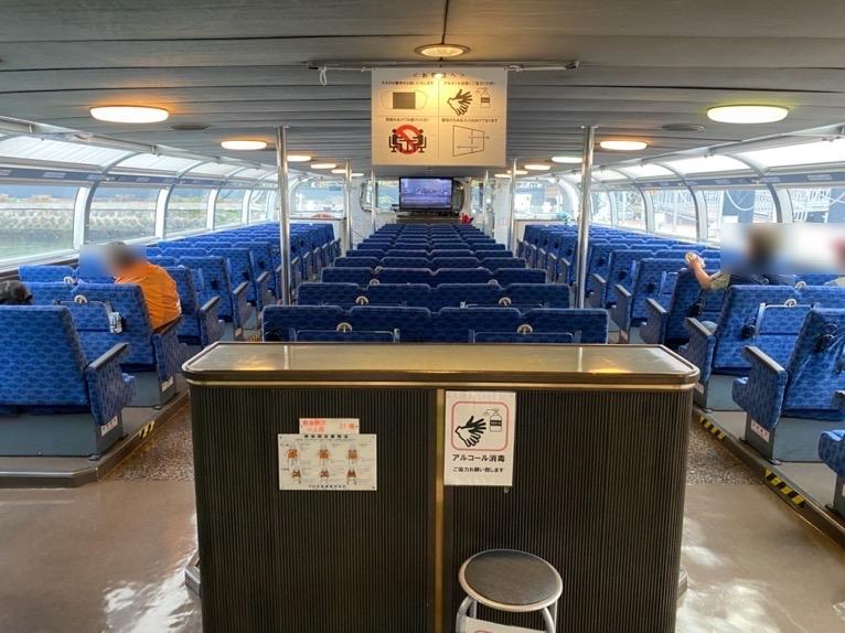 水上バス(定期運行線)を体験レポート:船の内観